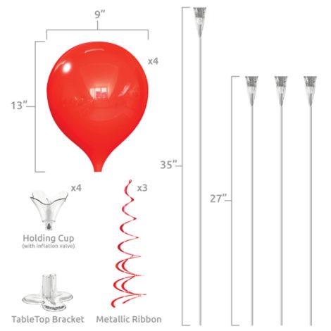 PermaShine Quadruple Table Top Balloon Display Specs